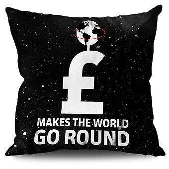 Money World Round Slogan Linen Cushion 30cm x 30cm | Wellcoda