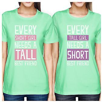 Tall Short Friend BFF Matching Shirts Womens Mint Teen Girls Gifts