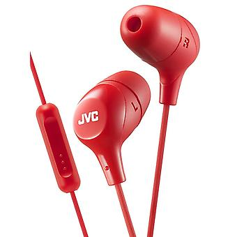 JVC In-Ear Headphones with 1-Button Remote Control and Microphone Red (HAFX38MR)