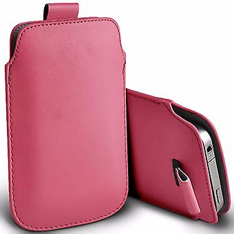 """For Nokia 7 Plus (6"""") - Premium Stylish Faux Leather Pull Tab Pouch Skin Case Cover (Baby Pink) by i-Tronixs"""