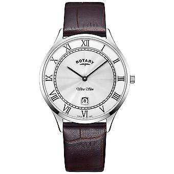 Rotary Mens Ultra Slim Brown Leather Strap GS08300/01 Watch