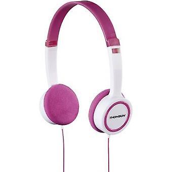 トムソンHED1105P子供オンイヤーヘッドフォンオンイヤーボリュームリミッター、軽量ヘッドバンドホワイト、ピンク
