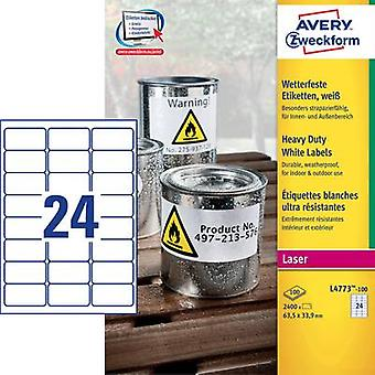 Avery-Zweckform L4773-100 Labels 63.5 x 33.9 mm Polyester film White 2400 pc(s) Permanent All-purpose labels, Weatherproof labels