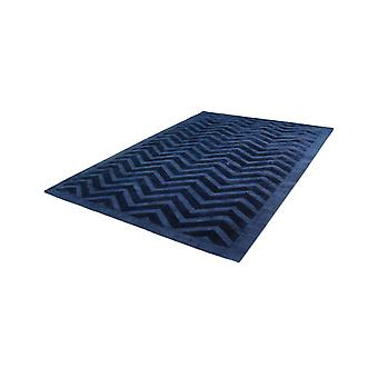 Lines Zig Zag Waves Pattern Rugs Viscose Handwoven Carpet Navy Blue