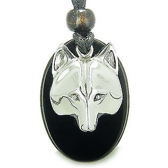 Amulett ProtectiWise Wolf Maske Geisteskräfte schwarz Onyx Edelstein Charm Anhänger Halskette