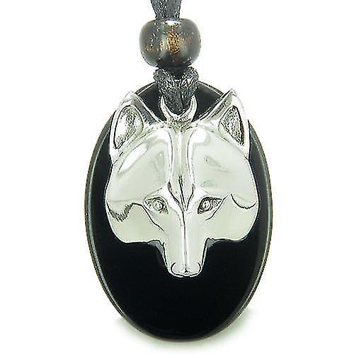 Amulet ProtectiWise Wolf Mask Spiritual Powers Black Onyx Gemstone Charm Pendant Necklace