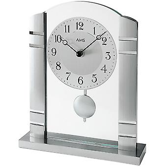 AMS table clock pendulum clock quartz clock with pendulum metal mineral glass brushed,