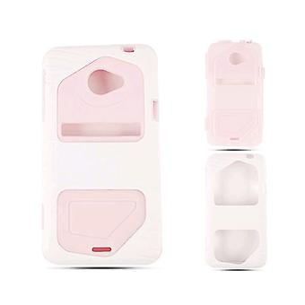 Cell Armor Hybrid Fit Jelly Case for HTC Evo LTE - Pink Skin with White
