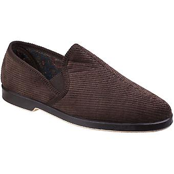 GBS Mens Mens Traditional Courdroy Loafer Slip On Slippers