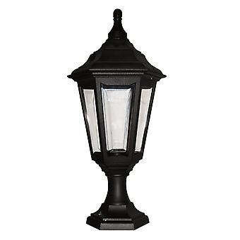 Elstead belysning Kinsale 6 sidig utomhus piedestal ljus i svart