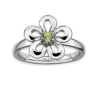 925 Sterling Silver Prong set Rhodium plated Stackable Expressions Polished Peridot Flower Ring Jewelry Gifts for Women