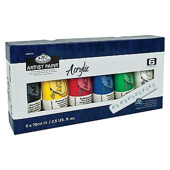 Royal & Langnickel Acrylic Paint Set 6 x 75ml Tubes with Bonus Palette