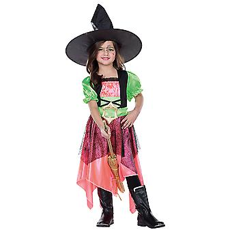 Kızlar Cadılar Bayramı Büyücü Karnavalı için Cadı Gwen Çocuk Kostümü