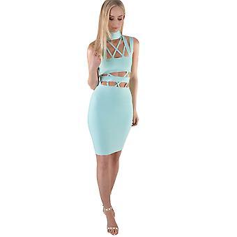 LMS Strappy Bandage Mint Blue Dress With Choker Neck