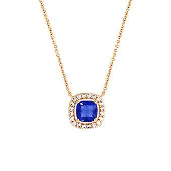 Bertha Julie sbírka žen ' s 18K RG pokovená modrá polštářková svatozář módní náhrdelník
