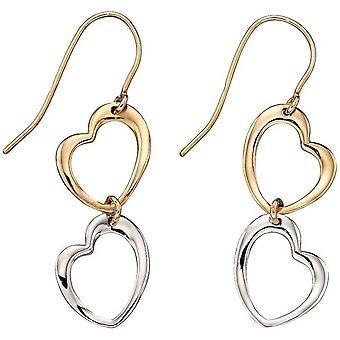 Elementit sydän korvakorut - kulta/hopea