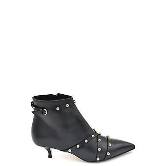 Vermelho Valentino Ezbc026067 Women's Black Leather Ankle Boots