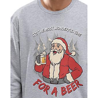 Fashionkilla Mens Beer Santa Print Sweatshirt