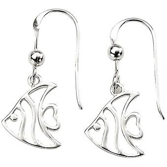 Beginnings Cut Out Angel Fish Earrings - Silver