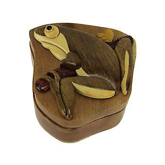 手彫り木製ツリーのカエルジグソー パズル小物入れ