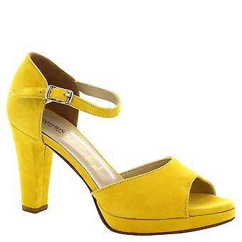 Sandalias de tacones de gamuza amarillo hecho a mano de Leonardo zapatos las mujeres