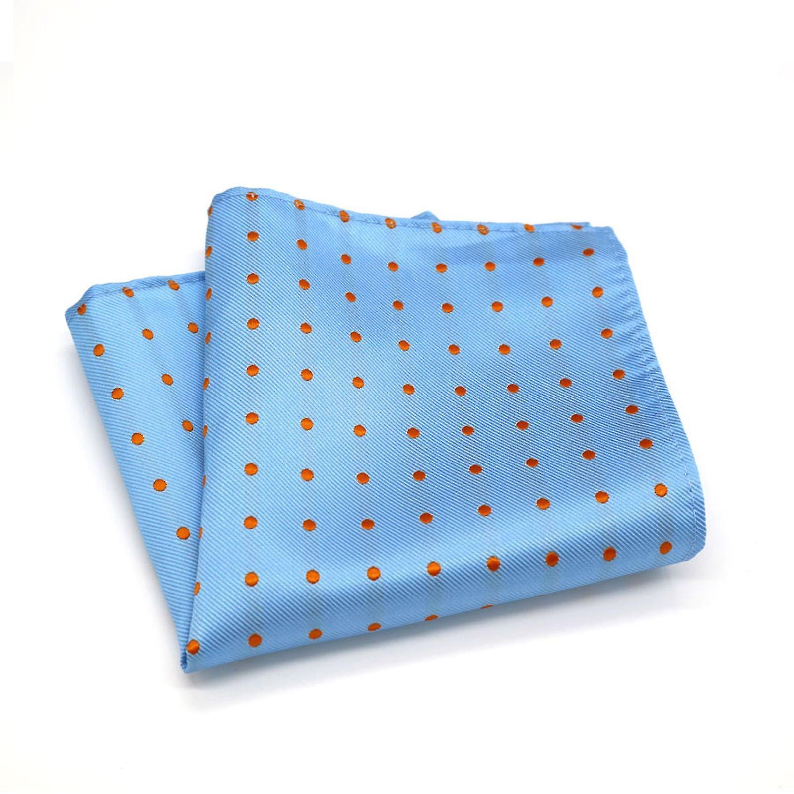 Baby blue & orange polka dot necktie & pocket square