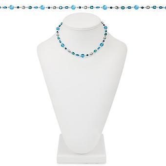 Ewige Sammlung Gletscher blau Multi Kristall 18 Zoll Silber Ton Perlenkette