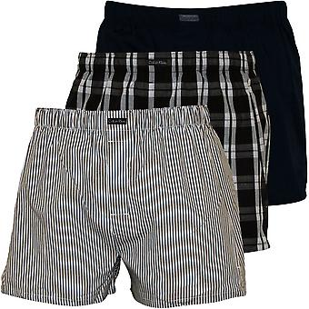 Calvin Klein 3-Pack Stripe, plaid et plaine Boxer shorts, bleu/marine