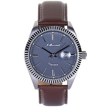 J. Brackett Verona Leather-Band Watch w/Date - Grey