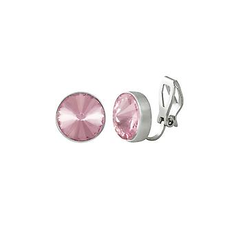 Eternal Collection Treasure Rose Pink Crystal Silver Tone Stud Clip On Earrings