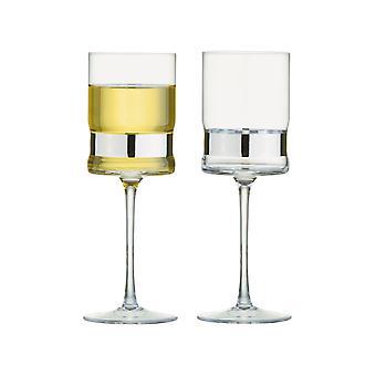 Anton Studio Soho set van 2 wijnglazen, zilver