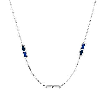 St. Louis Blues Sterling Silver Engraved Triple Station Necklace In Blue & Blue
