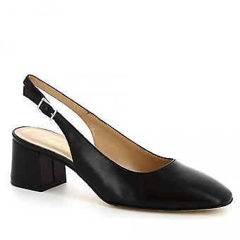 Leonardo schoenen Women's handgemaakte mid hak slingback schoenen zwart kalf leer