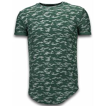 Fashionable Camouflage T-shirt - Long Fit -Shirt Army Pattern - Green