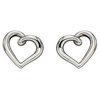 Elements Gold Organic Heart Earrings - White Gold