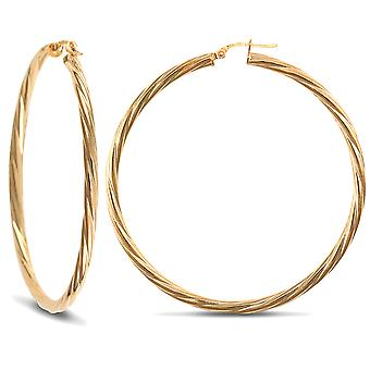 Jewelco London Ladies 9ct Yellow Gold Twisted 3mm Hoop Earrings 55mm