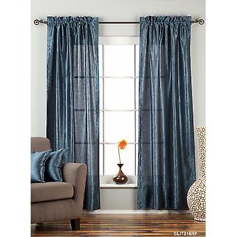 Dunkelblaue Stab Pocket texturiert Vorhang / drapieren / Panel - 84