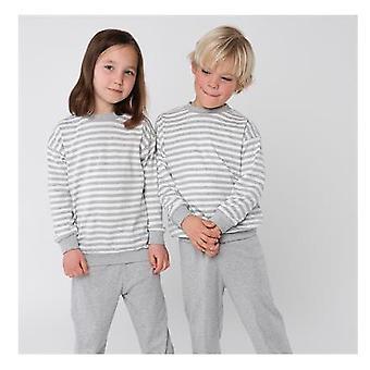 Vivo artesanato Pijama Largo Unisex Rayas Gris Melange/Blanca
