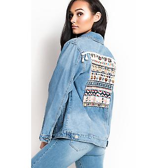 IKRUSH Womens Arlo Embroidered Sequin Long-lined Denim Jacket