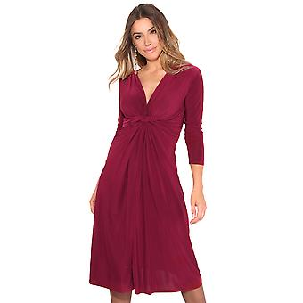 KRISP 3/4 Sleeve Knot Front Midi Dress