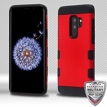 MYBAT Titanium Red/Black TUFF Trooper Hybrid Protector Cover for Galaxy S9 Plus