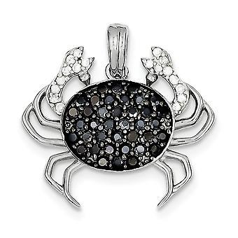 925 Sterling Silber poliert open zurück schwarz Rhodium Rhodium plattiert schwarz und weiß CZ Zirkonia simuliertdiamant