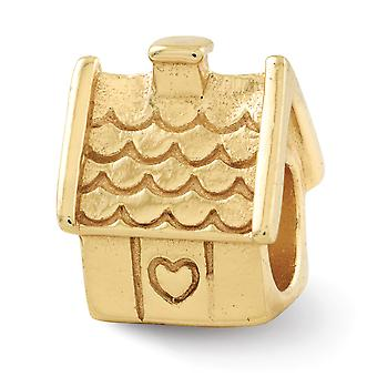 925 Sterling Silver Polished 14k Gold Plated Reflections House Bead Charm Pendant Necklace Jewelry Gifts for Women