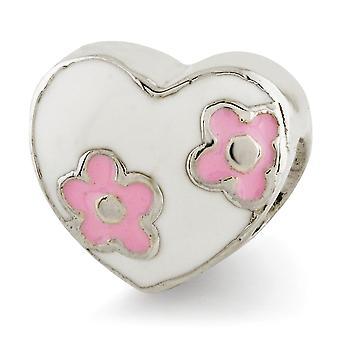 925 Sterling Silver Polerad Rosa Emalj finish Reflektioner Kids Emaljerad Kärlek Hjärta med rosa blommor Pärla Charm Pendan