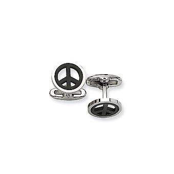 Stainless Steel Polished IP black plated Black plated Peace Symbol Cuff Links Jewelry Gifts for Men