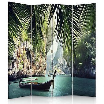 Divisor de quarto, 4 painéis, dupla face, lona, barco nos trópicos
