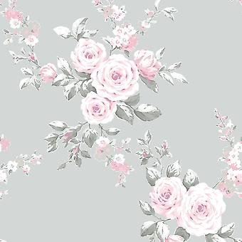 Catherine Lansfield Canterbury Floral Wallpaper Gris / Rosa Muriva 165503