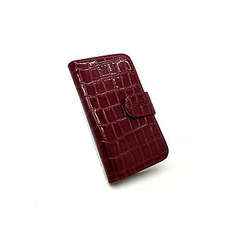 Galaxy S3 case wallet crocodile leather case red