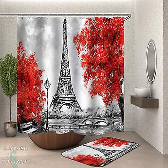 Art fall Eiffel Tower dusj Curtain