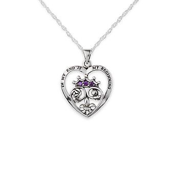 Ecosse Mary Stuart Queen Of Scots Embossed 'apos;In My End Is My Beginning'apos; Love Heart Shaped Necklace Pendant - Amethyst Colour Stones - Inclut A 16'quot; Silver Chain